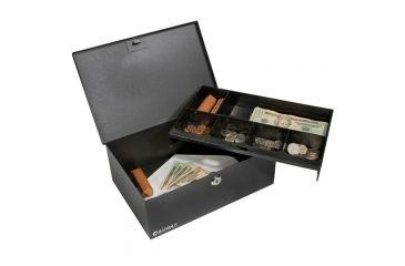 Barska 12in. Cash Box w/ 6 Compartment Coin Tray, Key Lock, In Use CB11792