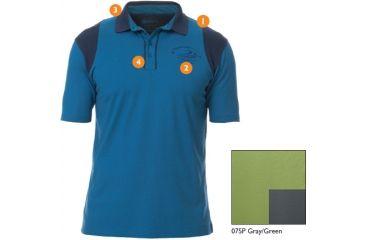 Beretta Cotton and Mesh Shooting Polo Shirt, Gray/Green, Small MT247238075PS