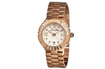 Bertha Evelyn Ladies Watch, Rose Gold Metal Band, Crystals Bezel, Silver Analog Dial, Rose Gold Hand BTHBR1706