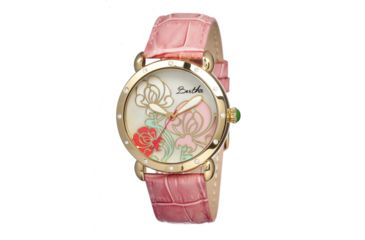 Bertha Josephine Ladies Watch, Light Pink Leather Band, Gold Bezel, Multicolor Analog Dial, Gold Hand BTHBR1505