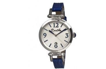Bertha Lilah Ladies Watch, Blue Leather Band, Silver Bezel, Silver Analog Dial, Blue Hand BTHBR1003