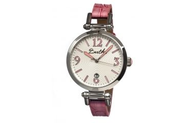 Bertha Lilah Ladies Watch, Hot Pink Leather Band, Silver Bezel, Silver Analog Dial, Hot Pink Hand BTHBR1001