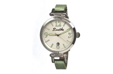 Bertha Lilah Ladies Watch, Mint Leather Band, Silver Bezel, Silver Analog Dial, Mint Hand BTHBR1005