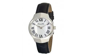 Bertha Pauline Ladies Watch, Black Leather Band, Silver Bezel, White Analog Dial, Silver Hand BTHBR403