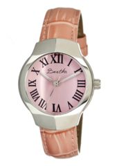 Bertha Pauline Ladies Watch, Light Pink Leather Band, Silver Bezel, Light Pink Analog Dial, Silver Hand BTHBR401
