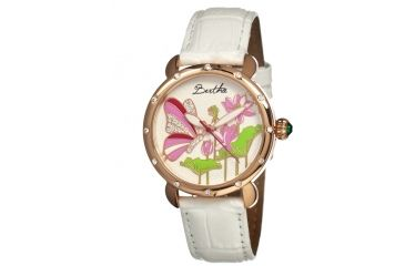 Bertha Stella Ladies Watch, White Leather Band, Rose Gold Bezel, Multicolor Analog Dial, Rose Gold Hand BTHBR1607