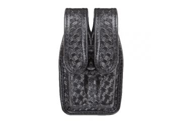 Bianchi 7944 Slimline Double Mag Pouch, Basketweave Black w/ Brass Snap, Glock 20/21 & Similar