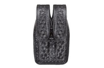 Bianchi 7944 Slimline Double Mag Pouch, Basketweave Black w/ Chrome Snap, Glock 17/19 & Similar