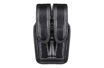 Bianchi 7944 Slimline Double Mag Pouch, Plain Black w/ Brass Snap, Glock 17/19 & Similar