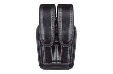 Bianchi 7944 Slimline Double Mag Pouch, Plain Black w/ Hidden Snap, Glock 17/19 & Similar