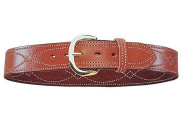 Bianchi B9 Fancy Stitched Belt - Plain Tan/Suede, Brass 12299
