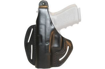 BlackHawk 3 Slot Leather Pancake Holster, Black, Left Hand - Colt 4 in Comm