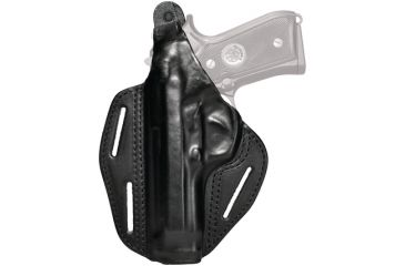 Blackhawk 3 Slot Leather Pancake Holster, Black, Left Hand - S&W MP 9/40 4in