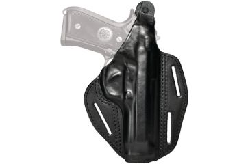 Blackhawk 3 Slot Leather Pancake Holster, Black, Right Hand - S&W MP 9/40 4in