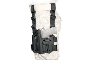 BlackHawk Serpa Tactical Level 2 Thigh Holster - Matte Black, Left Hand - Sig 2022 - 430508BK-L