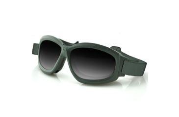 Bobster Bravo Interchangeable Goggle, Grn Frame, Smoke,Clear & Yellow Lenses BBRA101G
