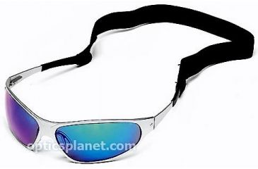 Body Specs Baruffaldi Series String Sunglasses with Aluminum Frame and Larger Blue Mirror/Grey Lens