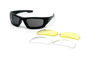 Body Specs BSG-4 Goggles - Shiny Black Frame / Smoke Antifog lens with Extra Lenses
