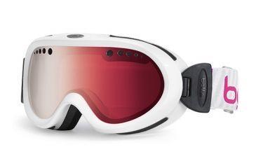 Bolle Nebula Kids Ski Goggles - Shiny White Stripes Frame and Vermillon Gun Lens 20984