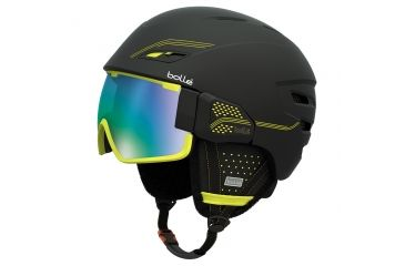 Bolle Osmoz Helmet, Black and Green with Green Emerald Lens, 58-61cm 30637
