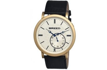 Breed Maxwell Mens Watch, Black Leather Band, Gold Bezel, Silver Analog Dial, Blue Hand BRD4103