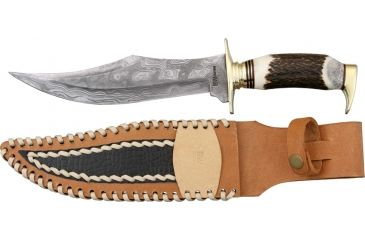 Brian Wilhoite Gator Getter Fixed Blade Knife, 9in, Bowie, Round Design Stag Handle BWC13