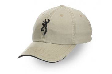 Browning Twill Cap with 3-D Buckmark and Pipe Brim, Khaki/Black, 308304781