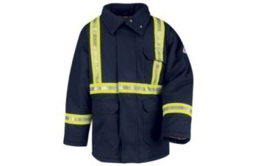 Bulwark Parka, Excel FR ComforTouch with Yellow/Silver/Yellow Stripe, Navy, RGS JLPCNVRGS