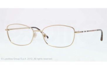 Burberry BE1256 Single Vision Prescription Eyeglasses 1145-51 - Burberry Gold Frame, Demo Lens Lenses