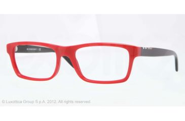 Burberry BE2138 Single Vision Prescription Eyeglasses 3393-53 - Top Transp/red Frame, Demo Lens Lenses