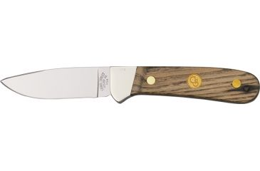 Canal Street Trailing Point Fixed Blade Knife, 3.25in, Polished D2 Tool Steel Blade, American Chestnut Handle CSC113126