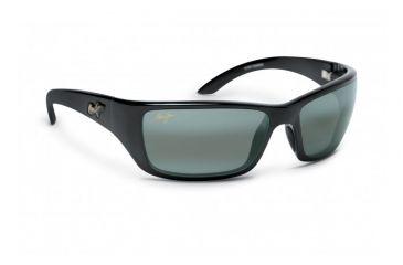 Maui Jim Canoes Sunglasses w/ Gloss Black Frame and Neutral Grey Lenses - 208-02, Quarter View