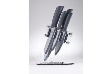 Cape Cod 5-Piece Ceramic Kitchen Knife set w/ Acrylic Stand, Black Blade 8120
