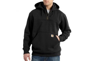 5e5f100313 Carhartt Rain Defender Paxton Heavyweight Hooded Zip Mock Sweatshirt for  Mens, Black, Small/