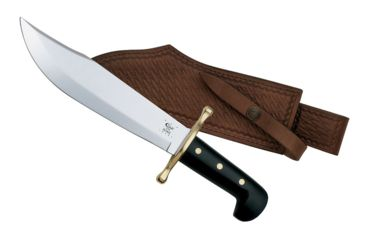 Case Bowie, Mirror Polished Blade, Black Synthetic Handle with Brass Guard and Leather Sheath 00286