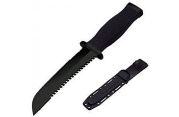 Coast Raptor Tactical Field Knife, Black Handle/Blade, w/Sheath CT-CUS100CP