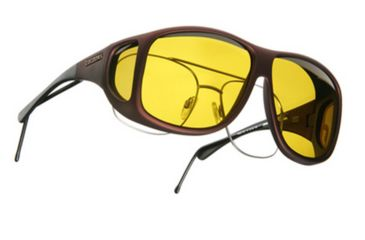 Cocoons Aviator Over-the-Glasses Sunglasses, XL Burgundy Frame, Yellow Lenses C209Y