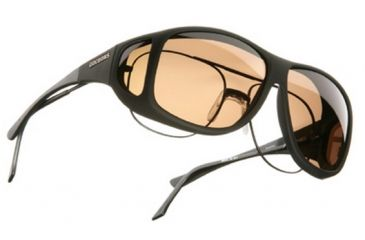 Cocoons Aviator Over-Rx Sunglasses, XL Black Frame, Amber Lenses C202A