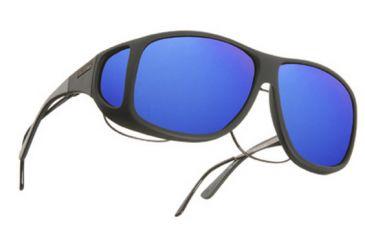 Cocoons Aviator Over-Rx Sunglasses, XL Black Frame, Blue Mirror Lenses C202M