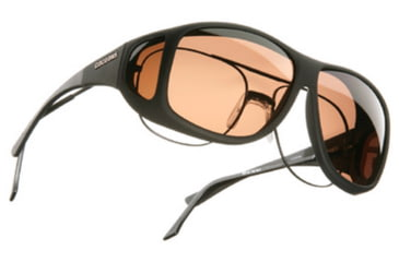Cocoons Aviator Over-Rx Sunglasses, XL Black Frame, Copper Lenses C202C