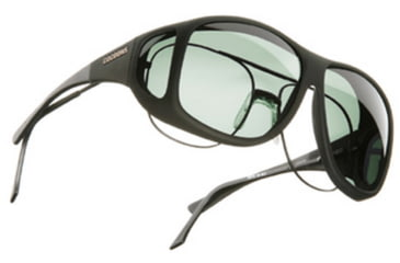 Cocoons Aviator Over-Rx Sunglasses, XL Black Frame, Gray Lenses C202G