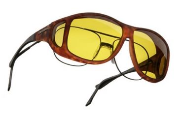 Cocoons Aviator OveRx Sunglasses, XL Tort Frame, Yellow Lenses C207Y