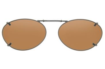 Cocoons Oval 3 Clipons Sunglasses, Size 50 Gunmetal Frame, Amber Lenses L678A