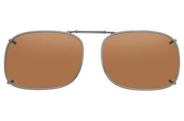 Cocoons Rectangle 1 Clip-On Sunglasses, Size 54 Gunmetal Frame, Amber Lenses L408A