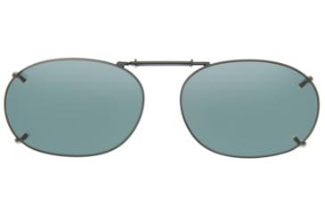 Cocoons Rectangle 2 Clip-On Sunglasses, Size 52 Gunmetal Frame, Gray Lenses L418G