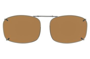 Cocoons Rectangle 7 Clip-On Sunglasses, Size 52 Gunmetal Frame, Amber Lenses L4158A