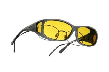 Cocoons Mini Slim Over-Rx  Sunglasses, MS Slate Frame, Yellow Lenses C418Y