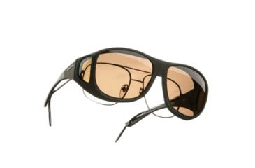Cocoons Pilot Over-Glasses Sunglasses, L Black Frame, Amber Lenses C302A