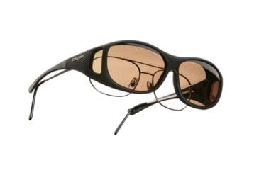 Cocoons SlimLine Over-Glasses Sunglasses, M Black Frame, Amber Lenses C402A