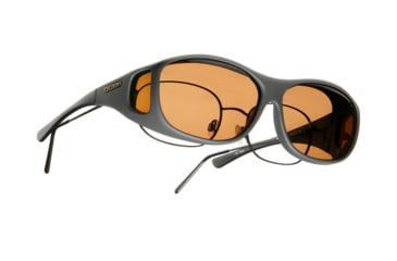 Cocoons Slim Line Over-Glasses Sunglasses, M Slate Frame, Amber Lenses C408A